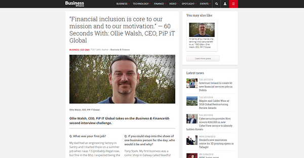 PiP iT Global News - Ollie Walsh, CEO, PiP IT Global Takes On The Business & Finance 60-Second Interview Challenge.