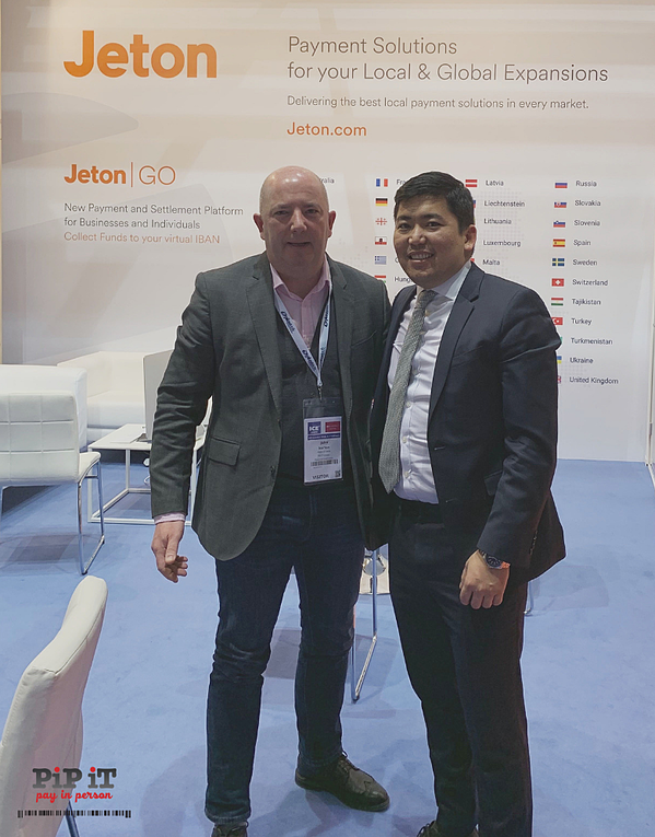 PiP iT Global's Head of Sales John Kurton and Ali MD of Jeton Wallet Partner of Pipit at ICE London